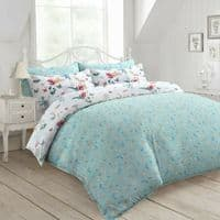 SACRAMENTO FLORAL FRENCH TOILE BEDDING WHITE LEAF PRINTED DUVET COVER & PILLOWCASE